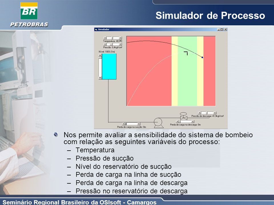 Seminário Regional Brasileiro da OSIsoft - Camargos Simulador de Processo Nos permite avaliar a sensibilidade do sistema de bombeio com relação as seg