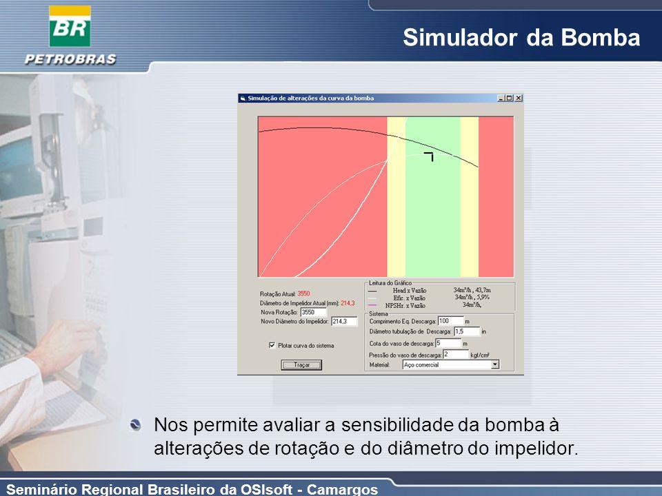 Seminário Regional Brasileiro da OSIsoft - Camargos Simulador da Bomba Nos permite avaliar a sensibilidade da bomba à alterações de rotação e do diâme
