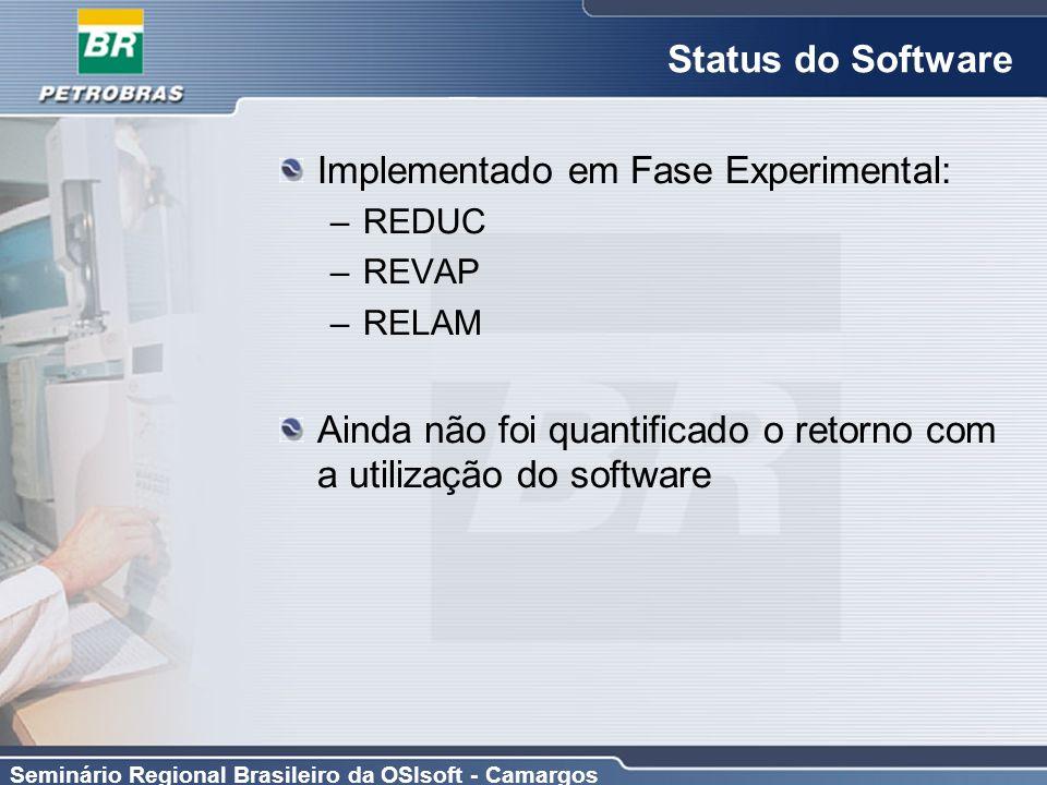 Seminário Regional Brasileiro da OSIsoft - Camargos Status do Software Implementado em Fase Experimental: –REDUC –REVAP –RELAM Ainda não foi quantific