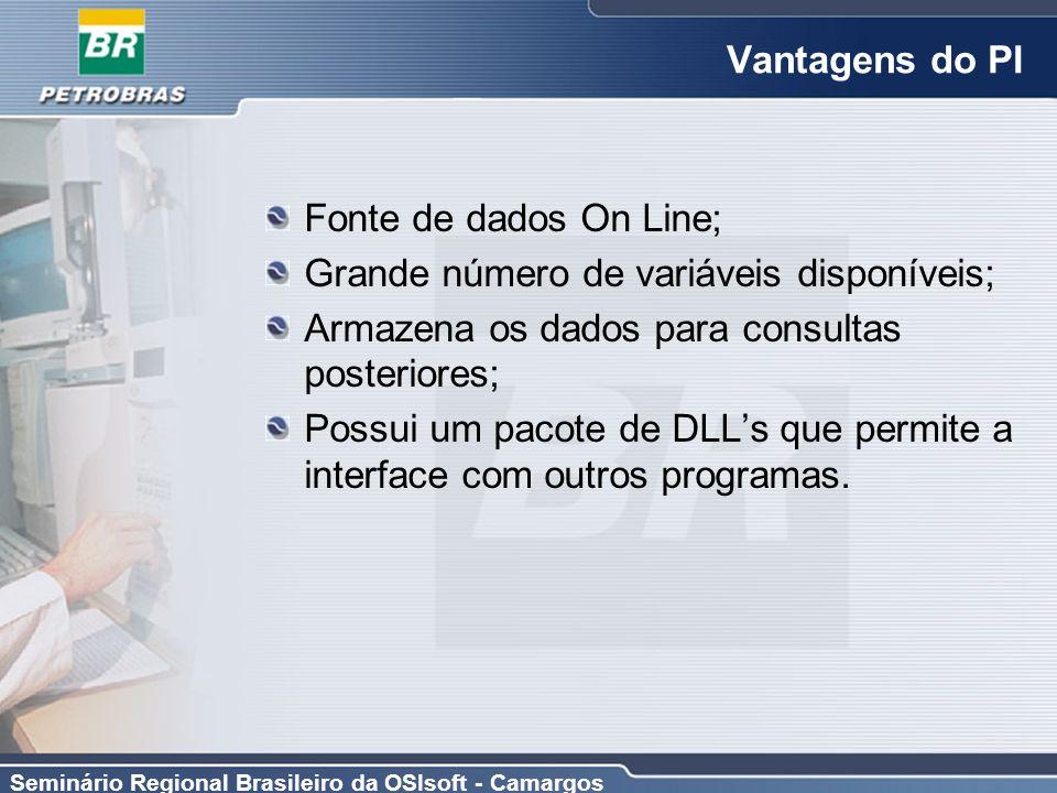 Seminário Regional Brasileiro da OSIsoft - Camargos Vantagens do PI Fonte de dados On Line; Grande número de variáveis disponíveis; Armazena os dados