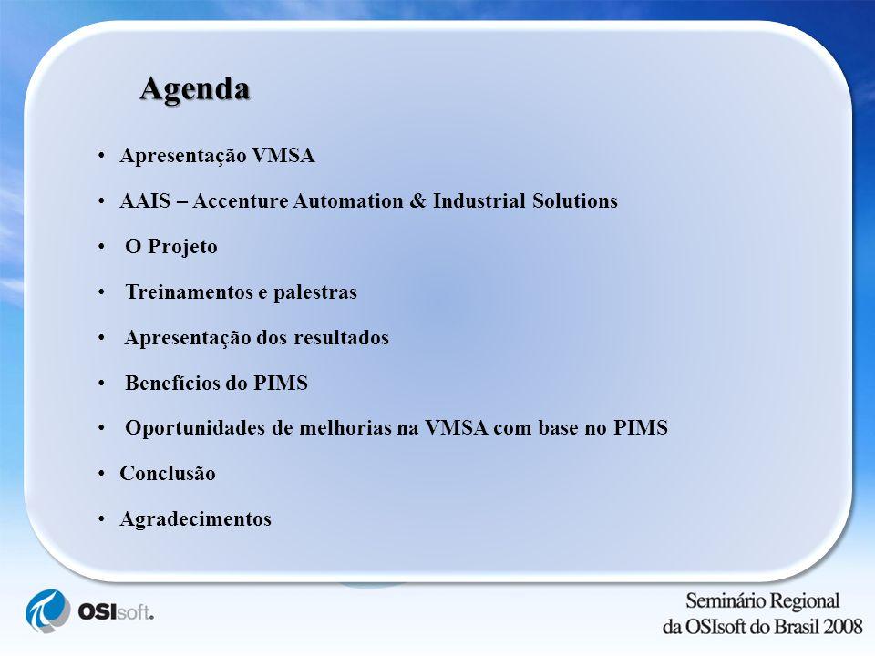 Agenda Apresentação VMSA AAIS – Accenture Automation & Industrial Solutions O Projeto Treinamentos e palestras Apresentação dos resultados Benefícios
