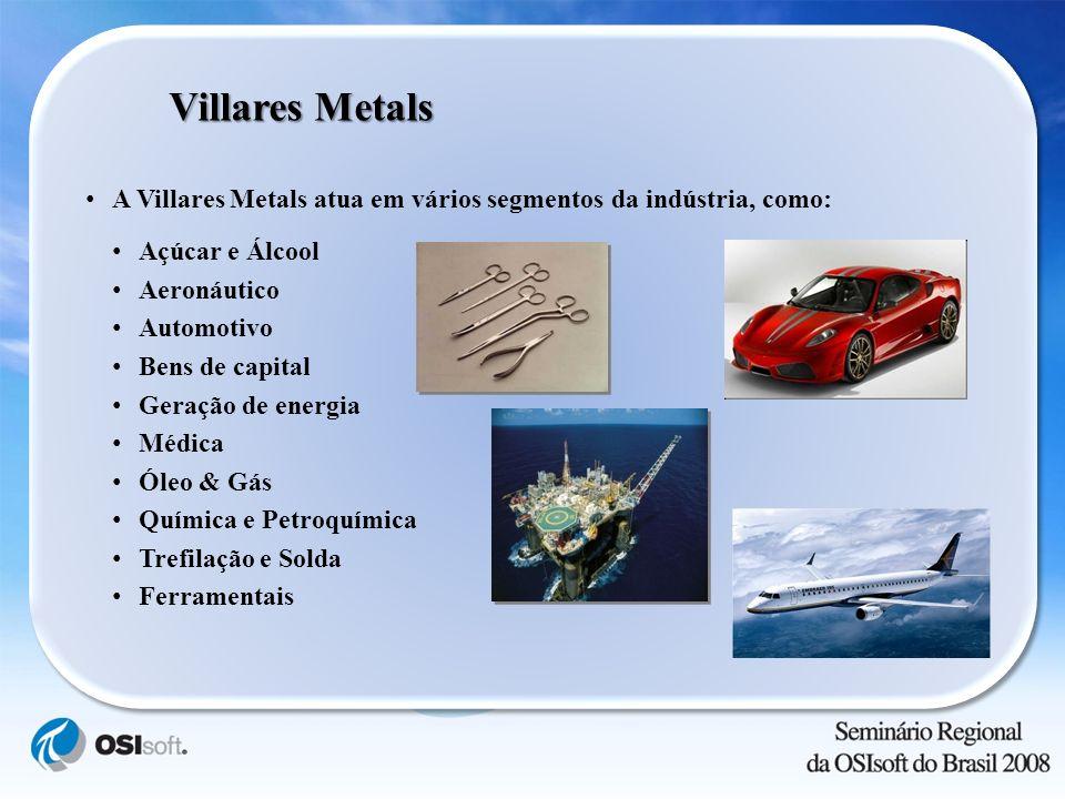 Villares Metals A Villares Metals atua em vários segmentos da indústria, como: Açúcar e Álcool Aeronáutico Automotivo Bens de capital Geração de energ