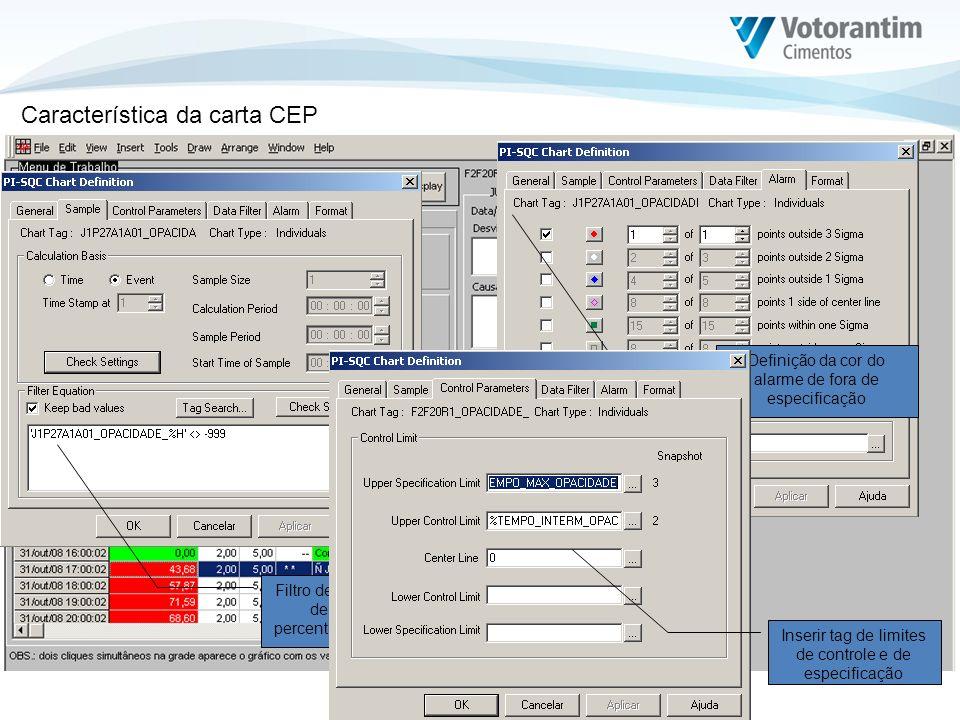 Filtro de exclusão do tag de medição do percentual de opacidade Definição da cor do alarme de fora de especificação Inserir tag de limites de controle
