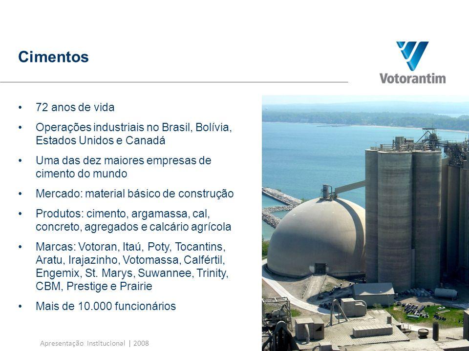 Apresentação Institucional   2008 Cimentos Unidades de produção Brasil: 34 unidades de produção, 68 centros de distribuição e 105 centrais de concreto Bolívia: 1 fábrica (Moagem Itacamba) América do Norte: 7 unidades de cimento, 150 centrais de concreto; 17 unidades de agregados, 6 navios próprios e 12 terminais de cimento na região dos Grandes Lagos BrasilAmérica do Norte Cimento25,2 milhões t/ano6,2 milhões t/ano Concreto 3,5 milhões de m³/ano8,5 milhões de m³/ano Agregados 7,0 milhões t/ano 15,5 milhões t/ano Capacidade de produção 6,7% Receita Líquida (R$ milhões) Geração de Caixa – Ebitda (R$ milhões) Investimentos com CAPEX (R$ milhões) 23% 13,5% 6