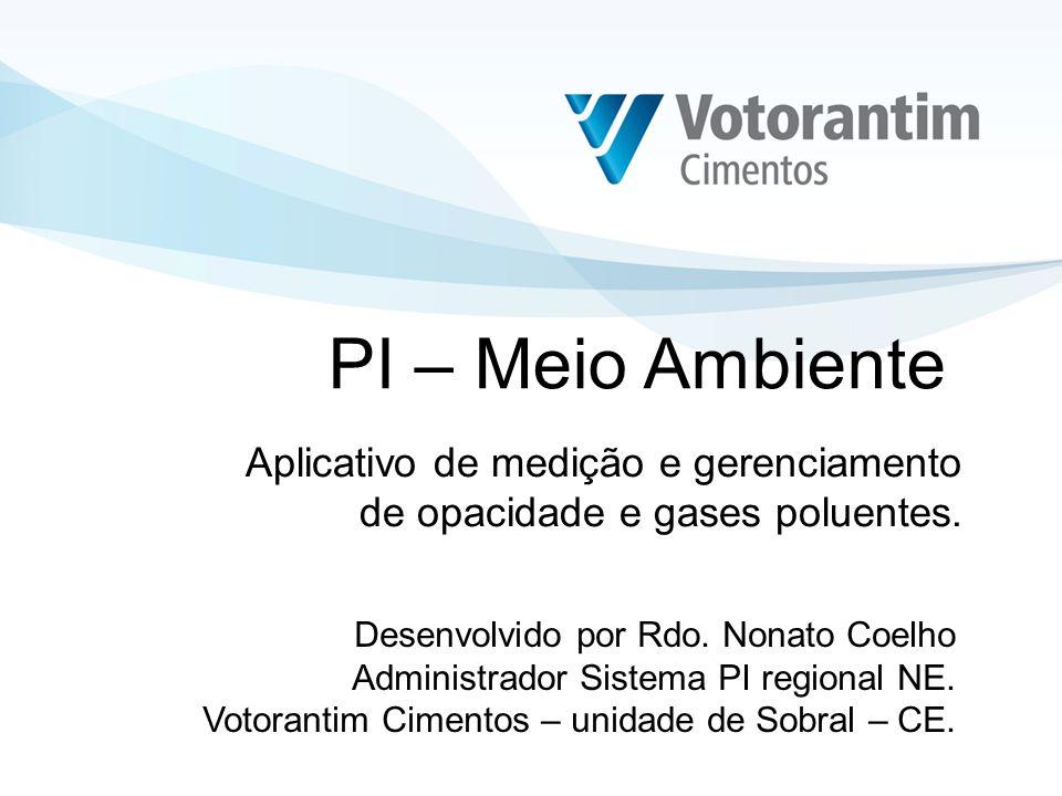 Objetivo do aplicativo: Medição, controle e gerenciamento da emissão de opacidade e gases poluentes provenientes do processo de fabricação de cimento nos fornos de clinquer através do sistema PI.