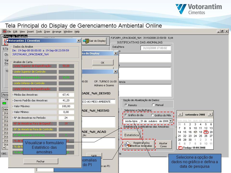 Tela Principal do Display de Gerenciamento Ambiental Online Para desbloquear o display, digite a senha de acesso Selecione a opção de dados no gráfico