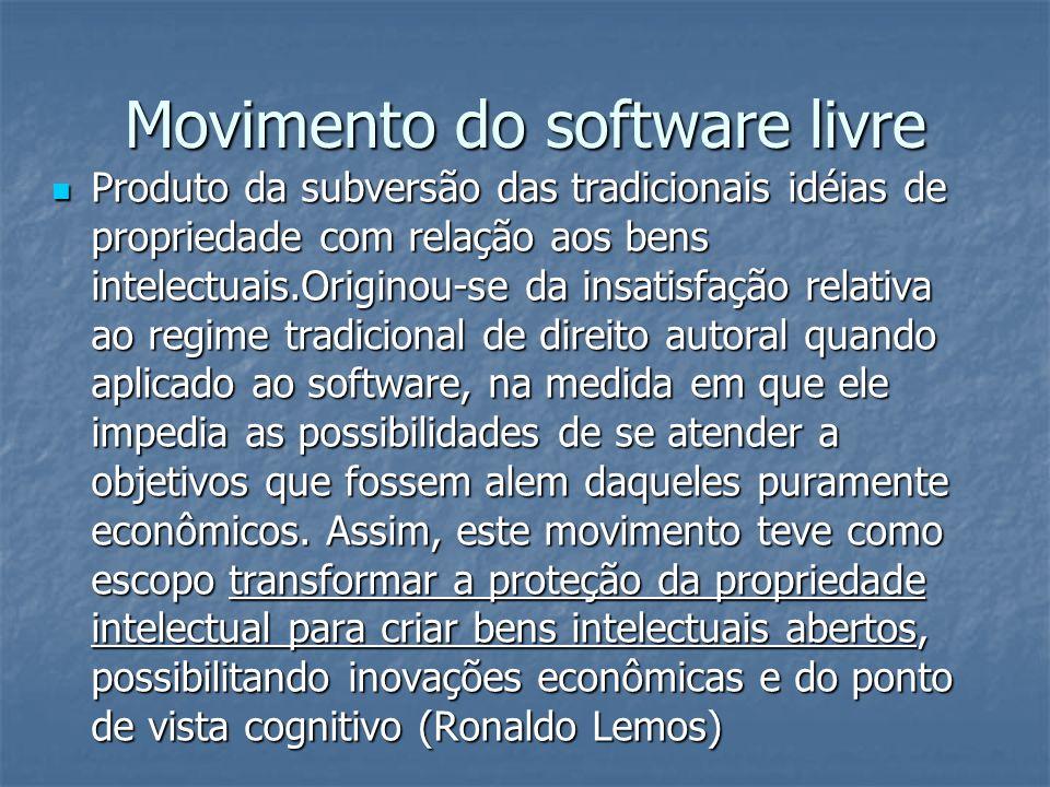 Movimento do software livre Produto da subversão das tradicionais idéias de propriedade com relação aos bens intelectuais.Originou-se da insatisfação