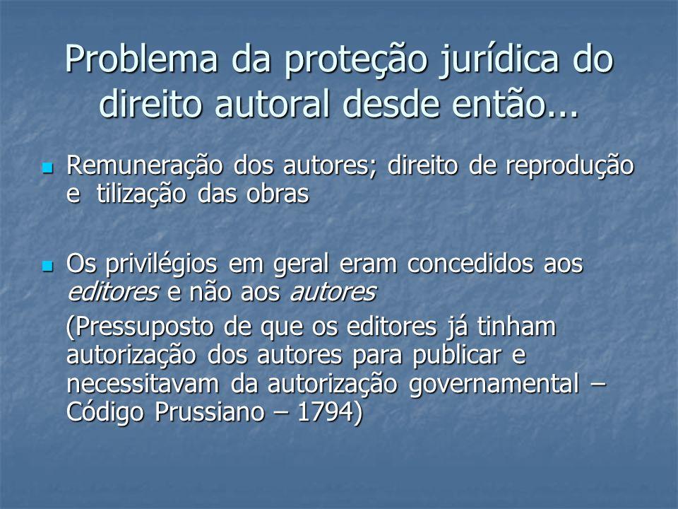 Problema da proteção jurídica do direito autoral desde então... Remuneração dos autores; direito de reprodução e tilização das obras Remuneração dos a
