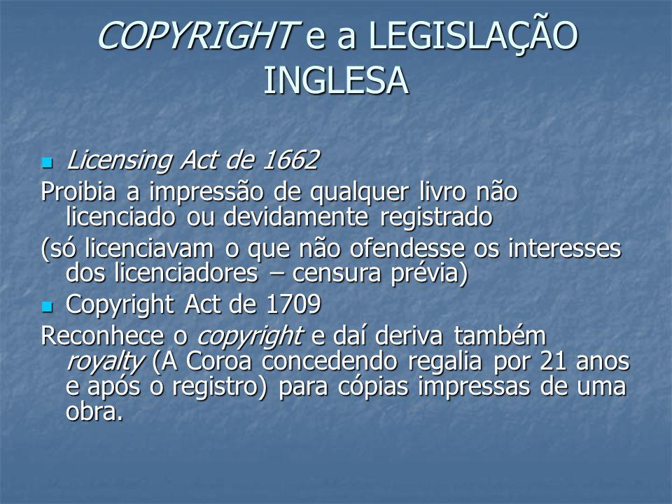 COPYRIGHT e a LEGISLAÇÃO INGLESA Licensing Act de 1662 Licensing Act de 1662 Proibia a impressão de qualquer livro não licenciado ou devidamente regis