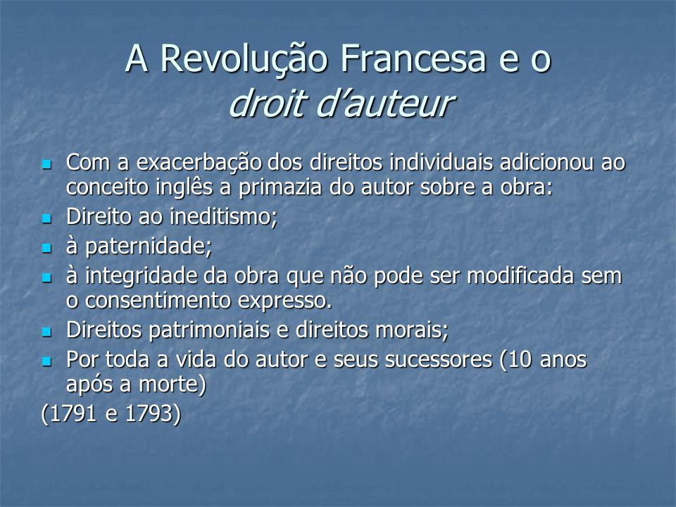 A Revolução Francesa e o droit dauteur Com a exacerbação dos direitos individuais adicionou ao conceito inglês a primazia do autor sobre a obra: Com a