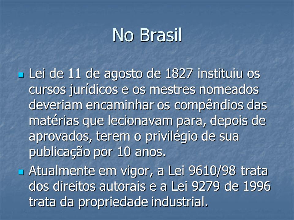 No Brasil Lei de 11 de agosto de 1827 instituiu os cursos jurídicos e os mestres nomeados deveriam encaminhar os compêndios das matérias que lecionava