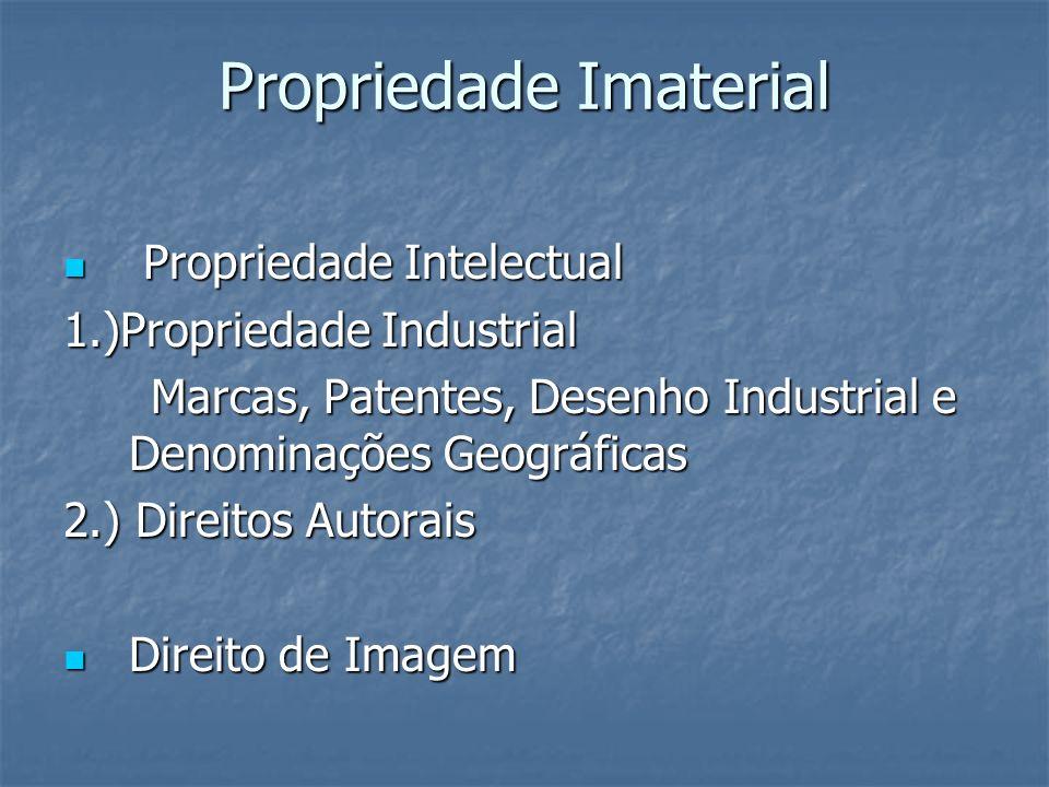 Propriedade Imaterial Propriedade Intelectual Propriedade Intelectual 1.)Propriedade Industrial Marcas, Patentes, Desenho Industrial e Denominações Ge