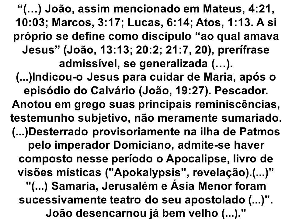 (…) João, assim mencionado em Mateus, 4:21, 10:03; Marcos, 3:17; Lucas, 6:14; Atos, 1:13. A si próprio se define como discípulo ao qual amava Jesus (J