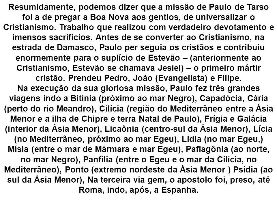 Resumidamente, podemos dizer que a missão de Paulo de Tarso foi a de pregar a Boa Nova aos gentios, de universalizar o Cristianismo. Trabalho que real
