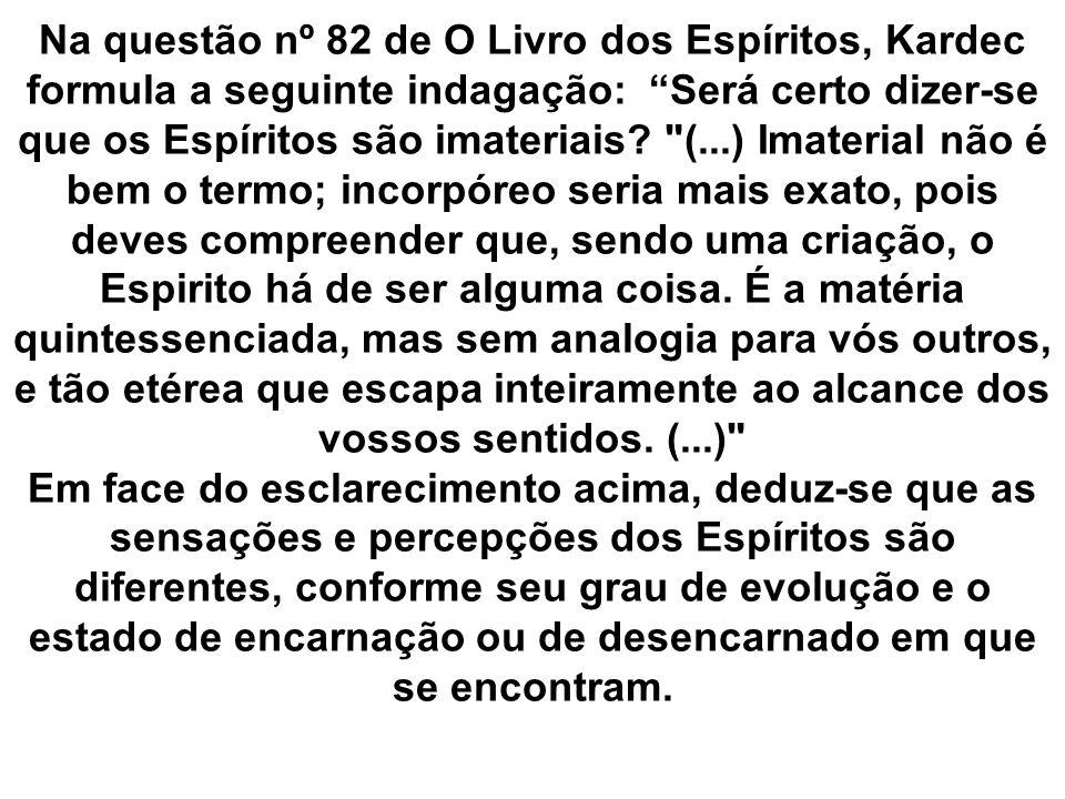 Na questão nº 82 de O Livro dos Espíritos, Kardec formula a seguinte indagação: Será certo dizer-se que os Espíritos são imateriais.