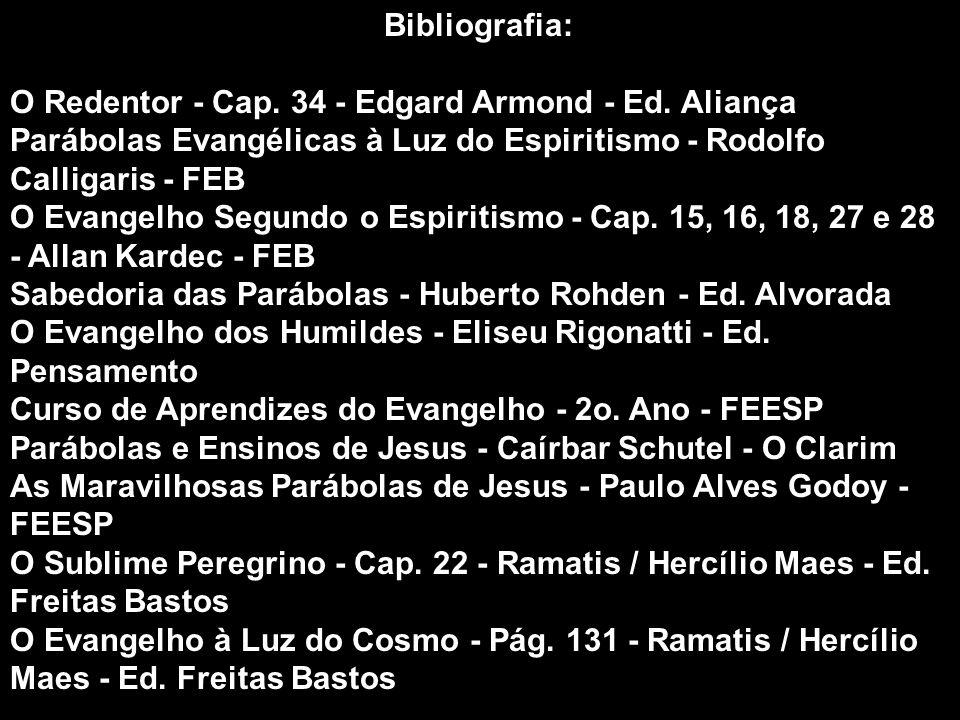 Bibliografia: O Redentor - Cap. 34 - Edgard Armond - Ed. Aliança Parábolas Evangélicas à Luz do Espiritismo - Rodolfo Calligaris - FEB O Evangelho Seg