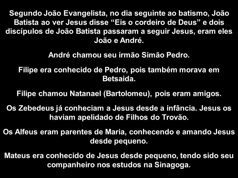 Segundo João Evangelista, no dia seguinte ao batismo, João Batista ao ver Jesus disse Eis o cordeiro de Deus e dois discípulos de João Batista passara