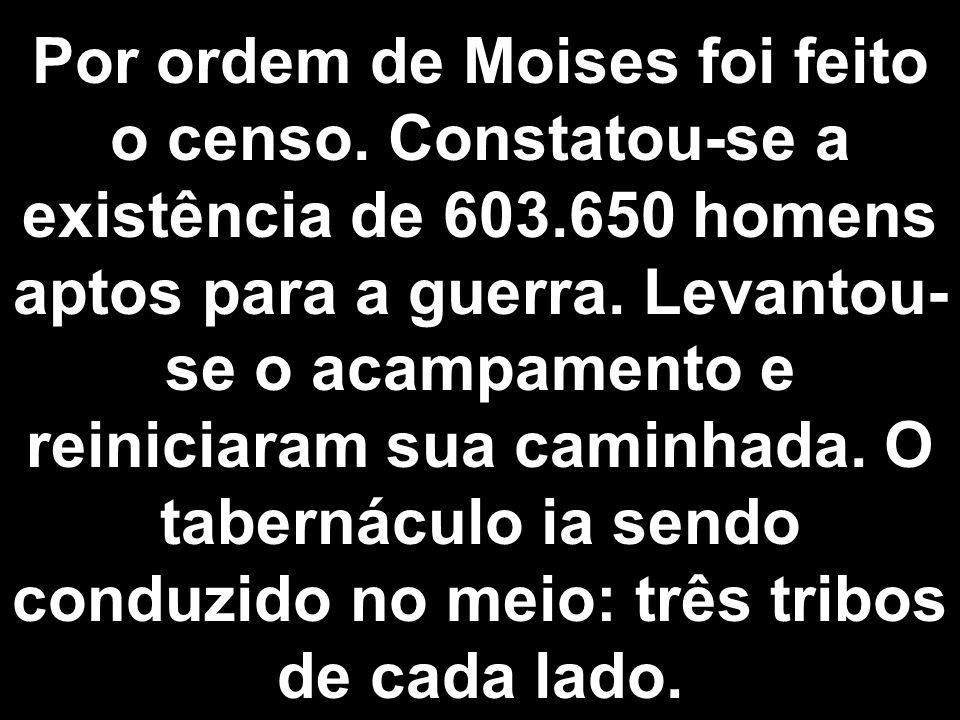 Por ordem de Moises foi feito o censo. Constatou-se a existência de 603.650 homens aptos para a guerra. Levantou- se o acampamento e reiniciaram sua c