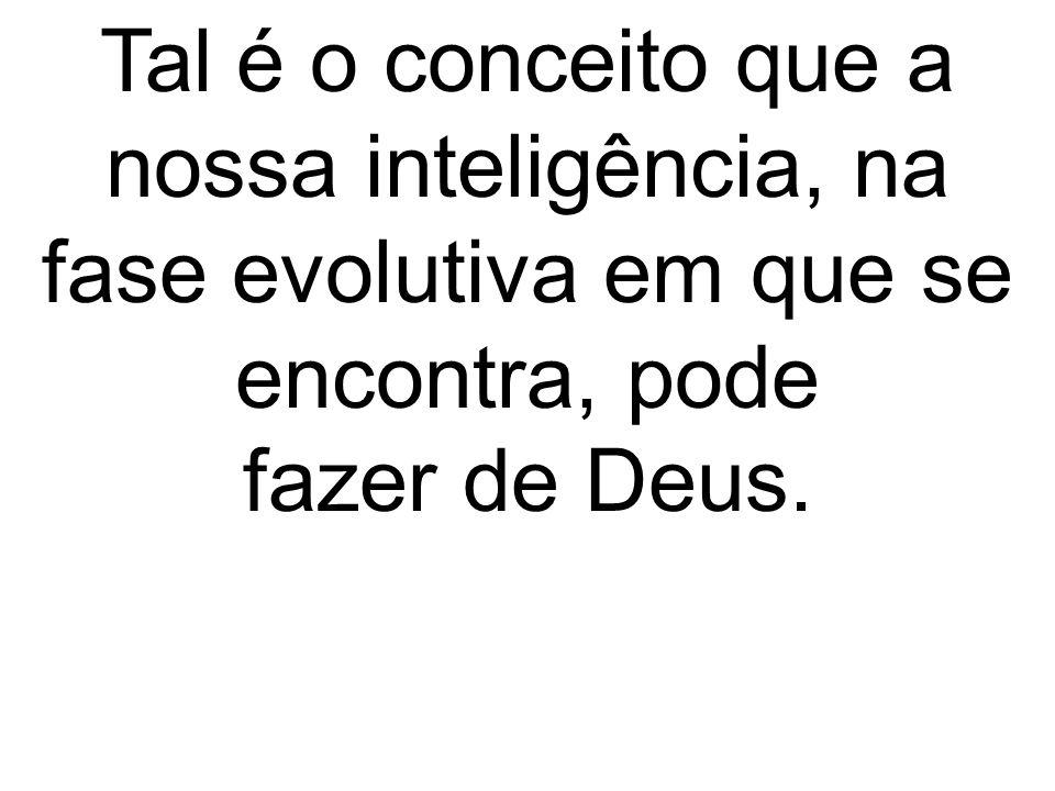 Tal é o conceito que a nossa inteligência, na fase evolutiva em que se encontra, pode fazer de Deus.