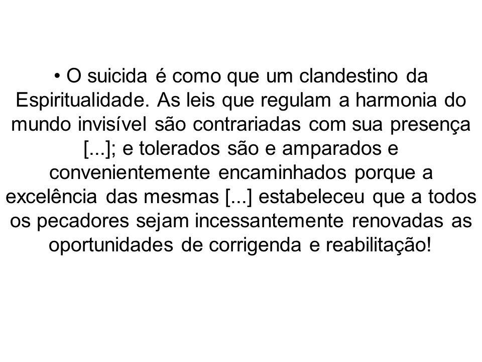 O suicida é como que um clandestino da Espiritualidade. As leis que regulam a harmonia do mundo invisível são contrariadas com sua presença [...]; e t