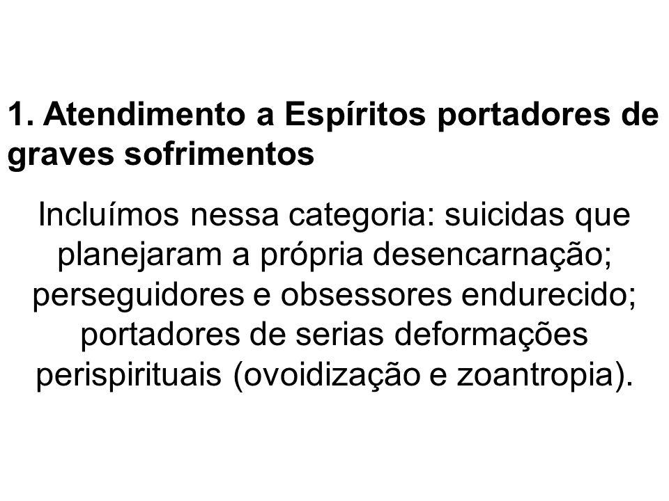 1. Atendimento a Espíritos portadores de graves sofrimentos Incluímos nessa categoria: suicidas que planejaram a própria desencarnação; perseguidores
