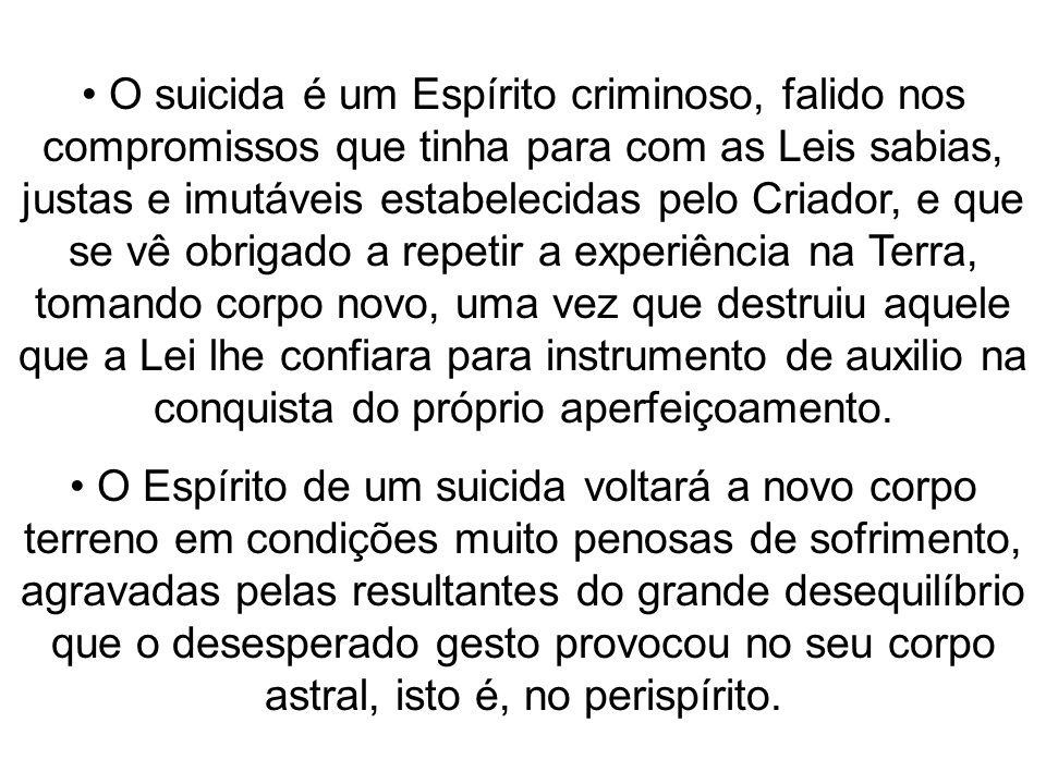 O suicida é um Espírito criminoso, falido nos compromissos que tinha para com as Leis sabias, justas e imutáveis estabelecidas pelo Criador, e que se