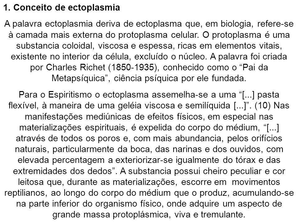 1. Conceito de ectoplasmia A palavra ectoplasmia deriva de ectoplasma que, em biologia, refere-se à camada mais externa do protoplasma celular. O prot