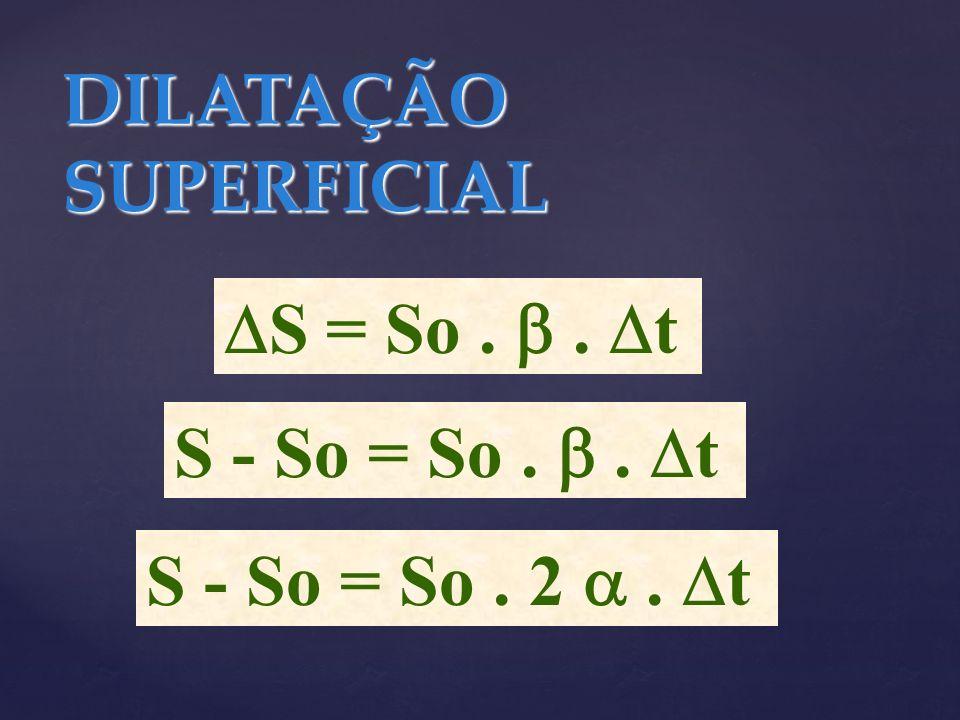 DILATAÇÃO SUPERFICIAL S = So.. t S - So = So.. t S - So = So. 2. t