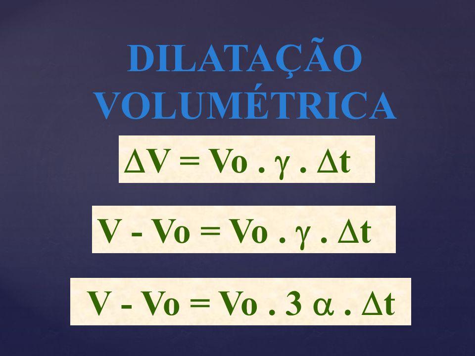 V - Vo = Vo. 3. t DILATAÇÃO VOLUMÉTRICA V = Vo.. t V - Vo = Vo.. t