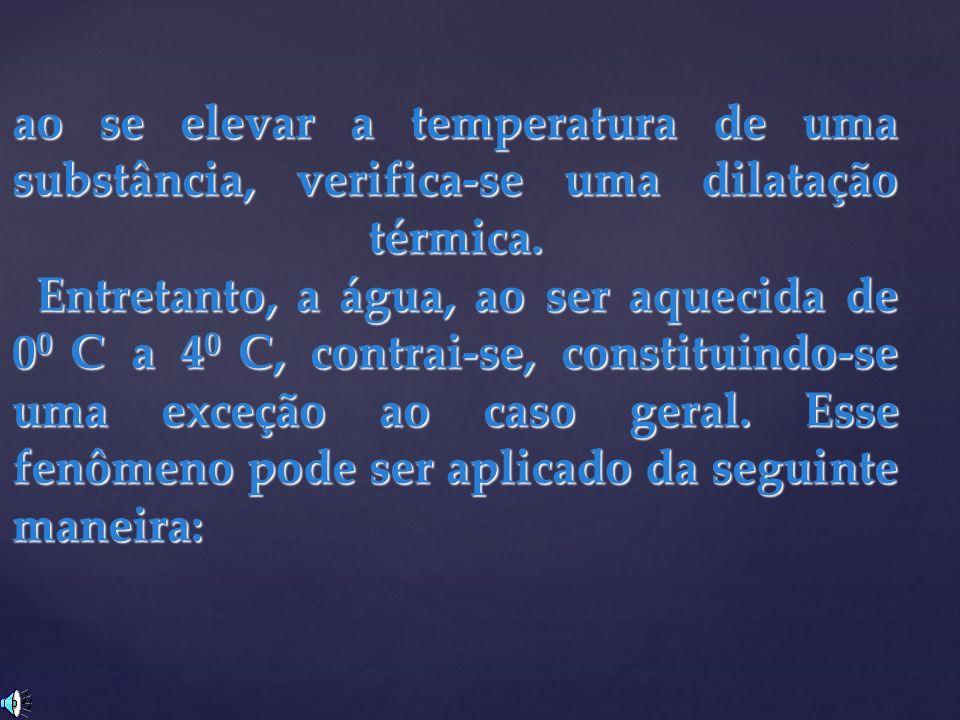 ao se elevar a temperatura de uma substância, verifica-se uma dilatação térmica. Entretanto, a água, ao ser aquecida de 0 0 C a 4 0 C, contrai-se, con