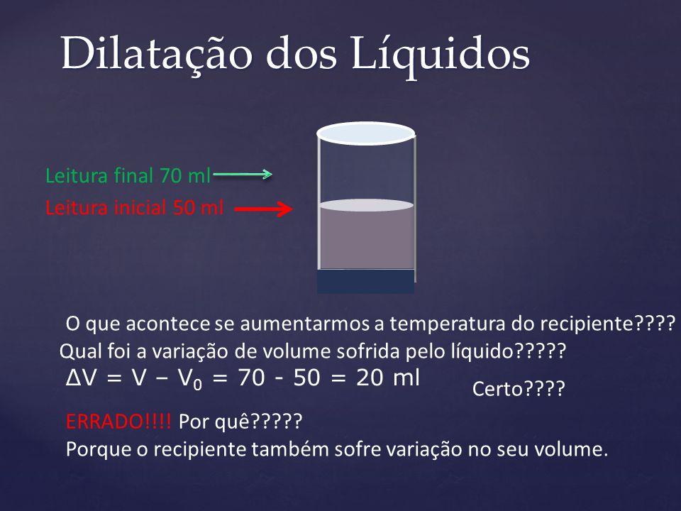 Dilatação dos Líquidos Leitura inicial 50 ml O que acontece se aumentarmos a temperatura do recipiente???? Leitura final 70 ml Qual foi a variação de