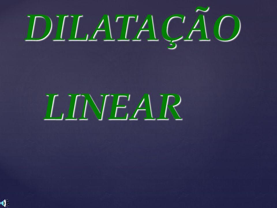 DILATAÇÃO LINEAR L - Lo =.. t L = Lo.. t L = Lf – Lo t = tf – to