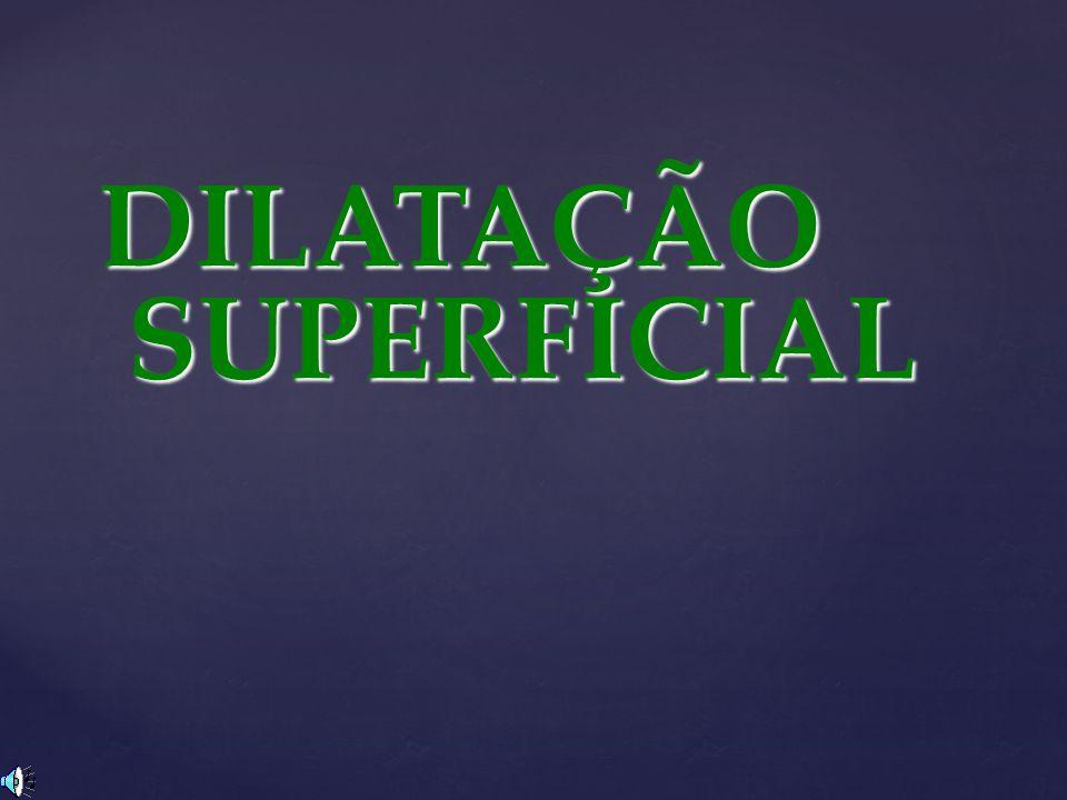 A dilatação superficial corresponde à variação da área de uma placa quando submetida a uma variação de temperatura.