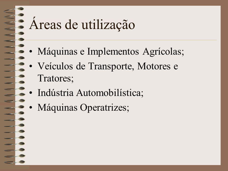 Áreas de utilização Máquinas e Implementos Agrícolas; Veículos de Transporte, Motores e Tratores; Indústria Automobilística; Máquinas Operatrizes;