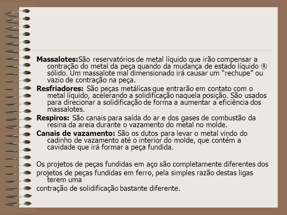 Massalotes:São reservatórios de metal líquido que irão compensar a contração do metal da peça quando da mudança de estado líquido ® sólido. Um massalo
