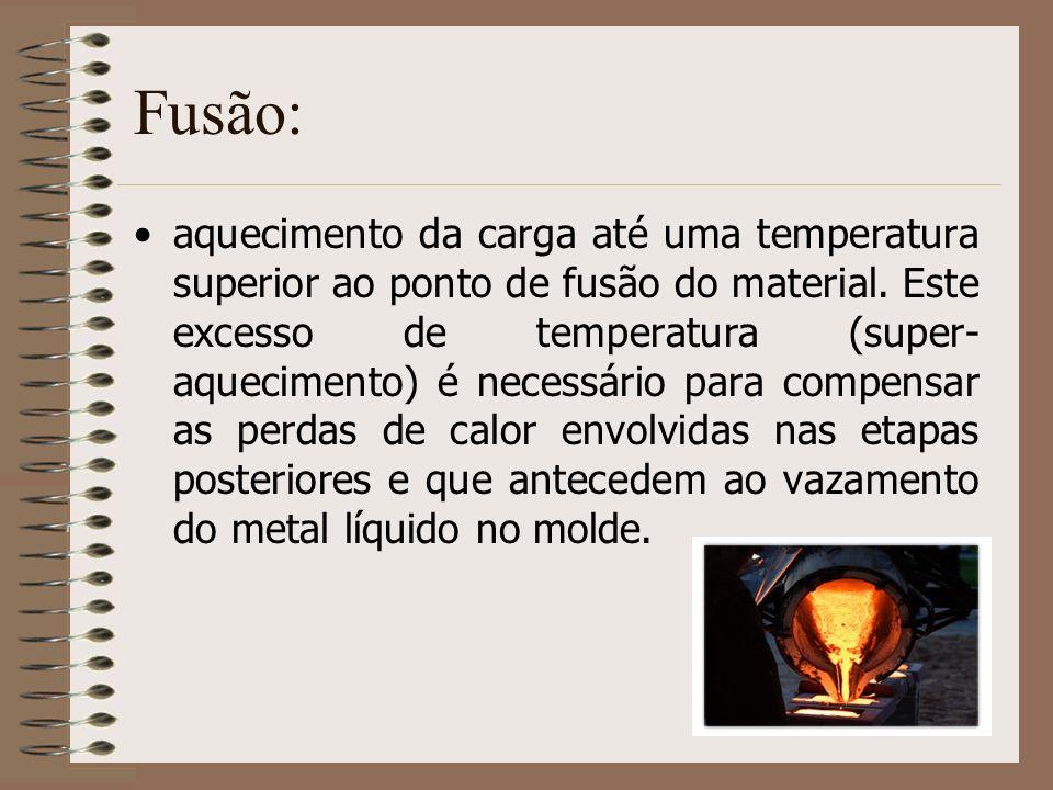 Fusão: aquecimento da carga até uma temperatura superior ao ponto de fusão do material. Este excesso de temperatura (super- aquecimento) é necessário