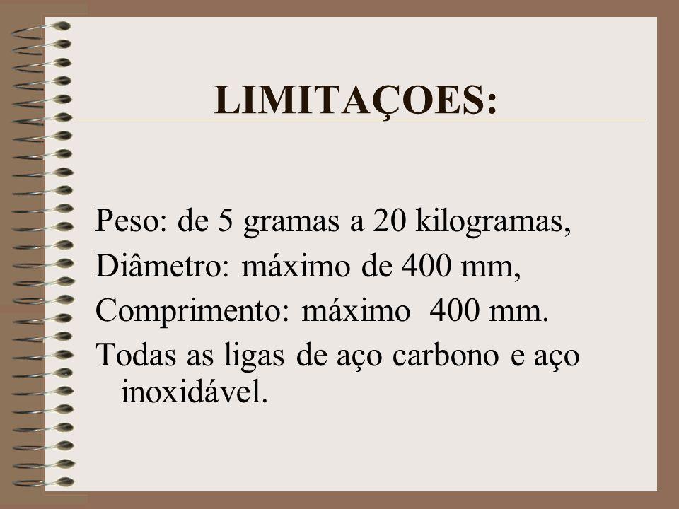 LIMITAÇOES: Peso: de 5 gramas a 20 kilogramas, Diâmetro: máximo de 400 mm, Comprimento: máximo 400 mm. Todas as ligas de aço carbono e aço inoxidável.