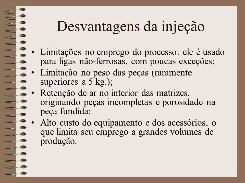 Desvantagens da injeção Limitações no emprego do processo: ele é usado para ligas não-ferrosas, com poucas exceções; Limitação no peso das peças (rara