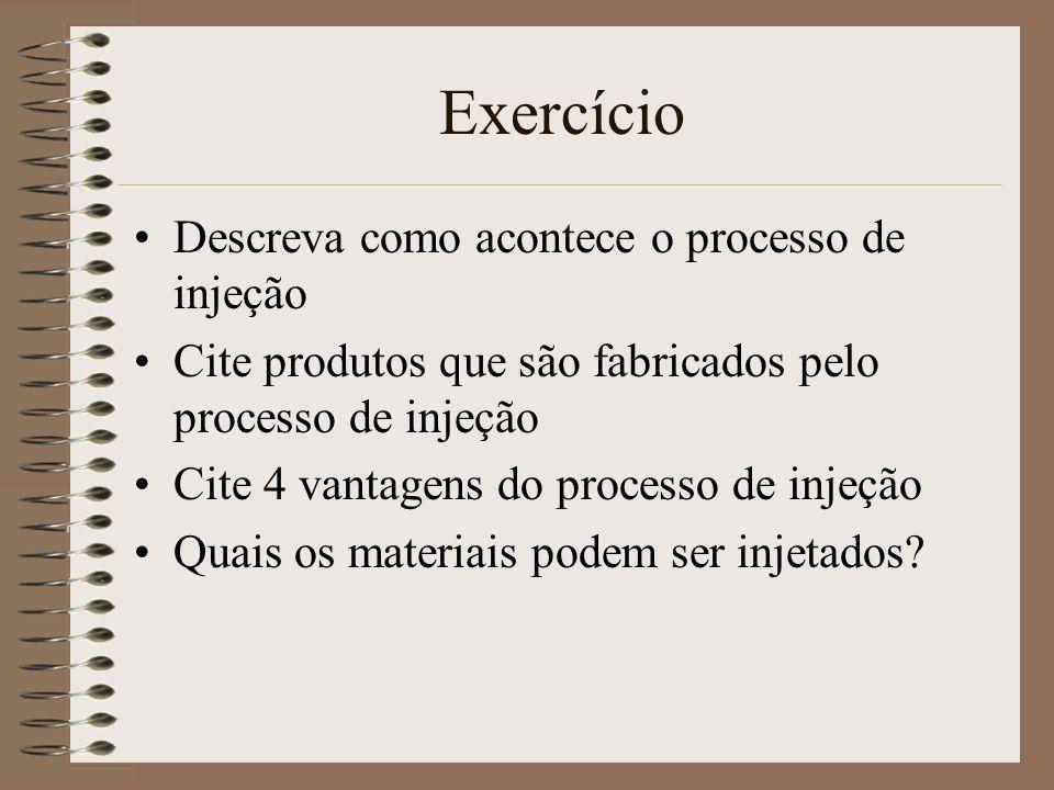 Exercício Descreva como acontece o processo de injeção Cite produtos que são fabricados pelo processo de injeção Cite 4 vantagens do processo de injeç