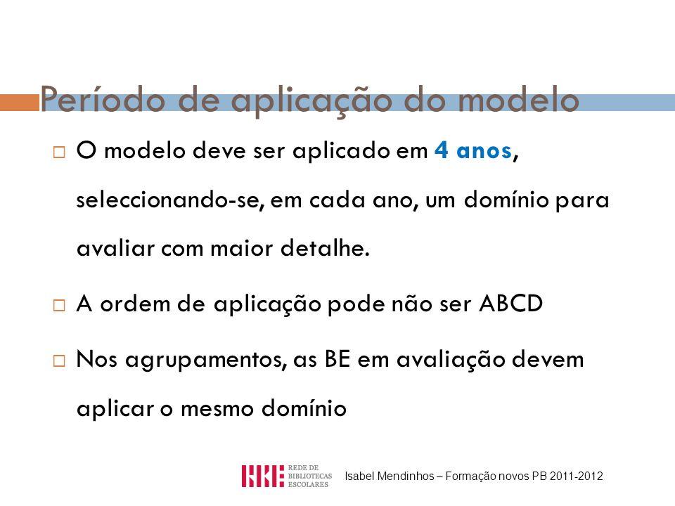 Período de aplicação do modelo O modelo deve ser aplicado em 4 anos, seleccionando-se, em cada ano, um domínio para avaliar com maior detalhe. A ordem