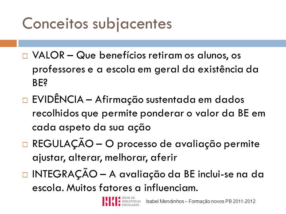 Conceitos subjacentes VALOR – Que benefícios retiram os alunos, os professores e a escola em geral da existência da BE.