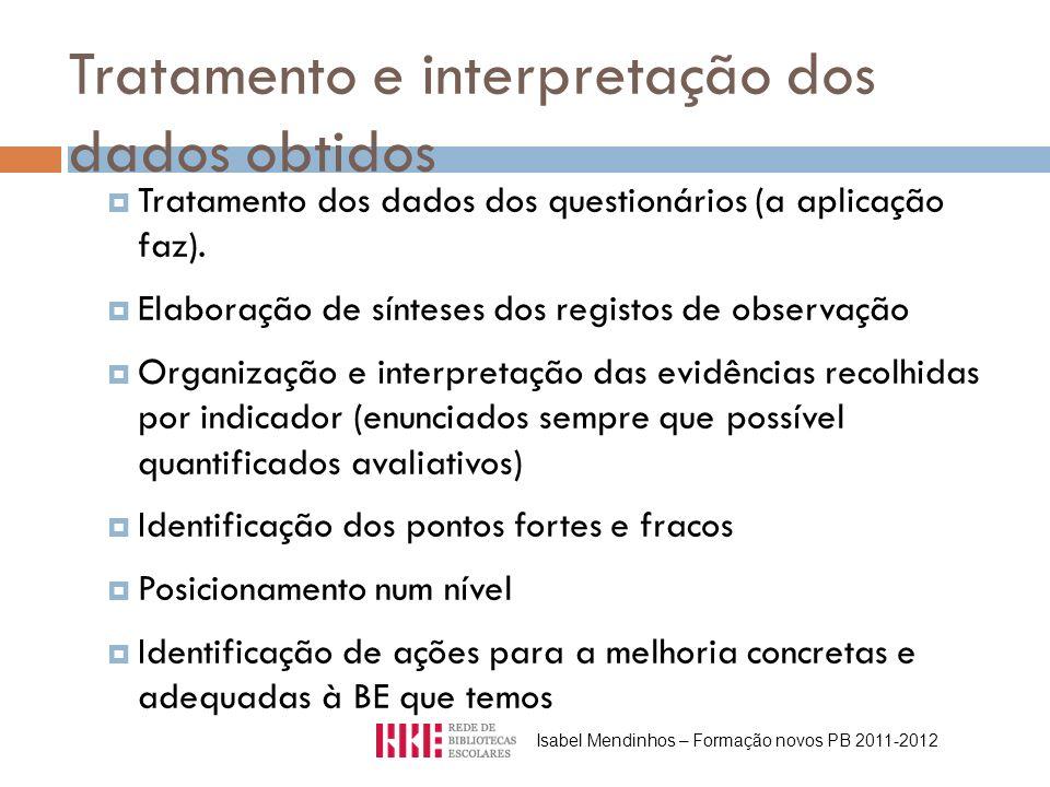Tratamento e interpretação dos dados obtidos Tratamento dos dados dos questionários (a aplicação faz). Elaboração de sínteses dos registos de observaç