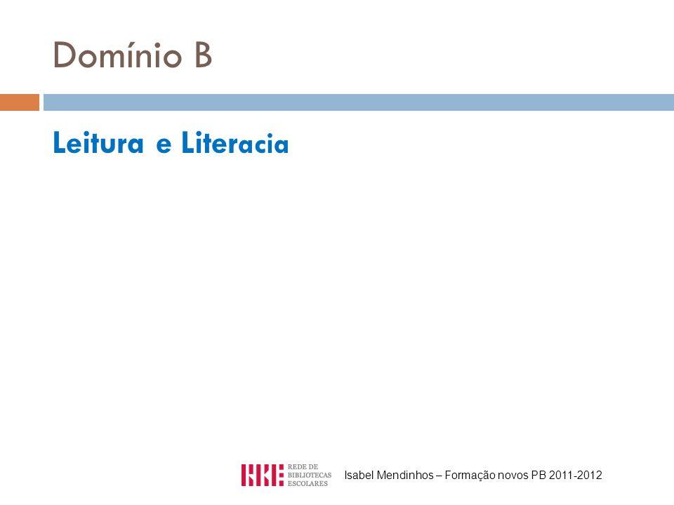 Domínio B Leitura e Liter acia Isabel Mendinhos – Formação novos PB 2011-2012