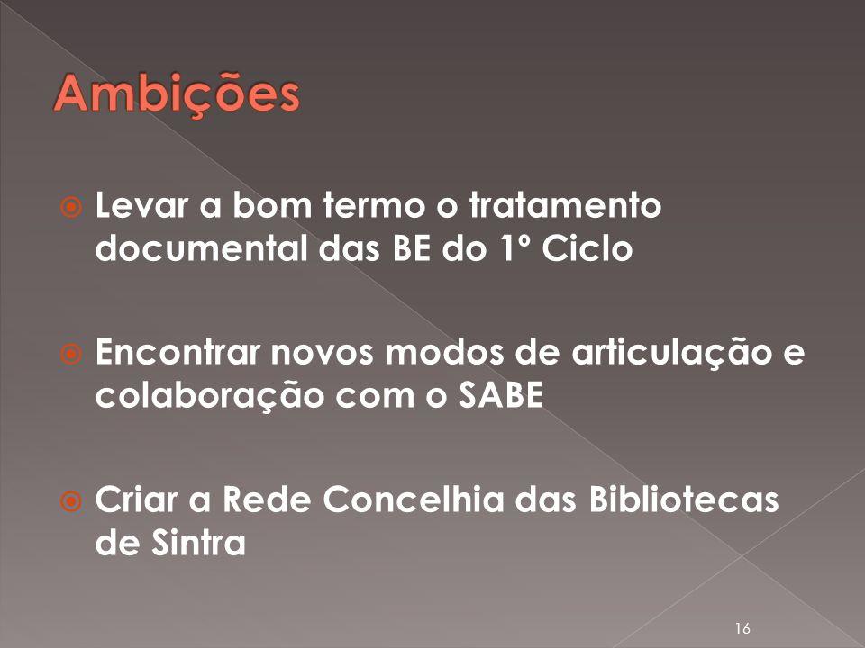 Levar a bom termo o tratamento documental das BE do 1º Ciclo Encontrar novos modos de articulação e colaboração com o SABE Criar a Rede Concelhia das Bibliotecas de Sintra 16