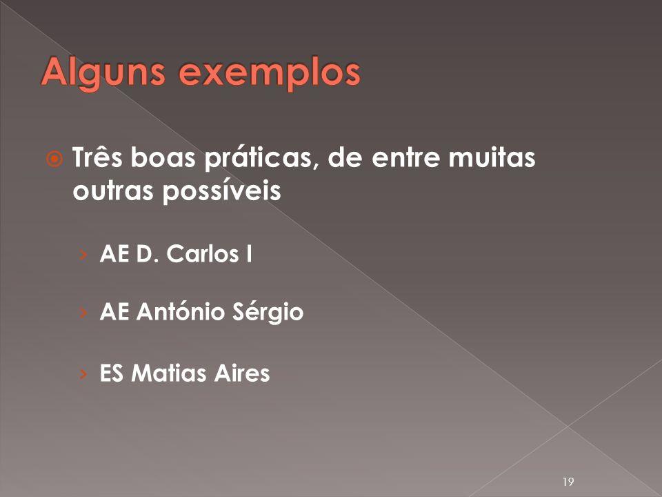 Três boas práticas, de entre muitas outras possíveis AE D. Carlos I AE António Sérgio ES Matias Aires 19