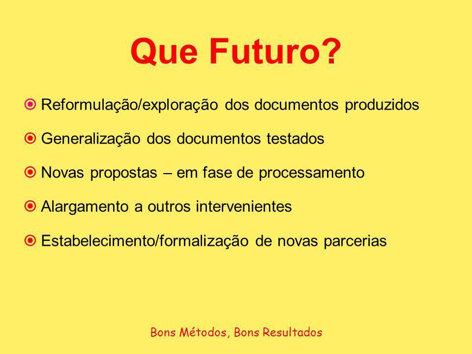 Que Futuro? Reformulação/exploração dos documentos produzidos Generalização dos documentos testados Novas propostas – em fase de processamento Alargam