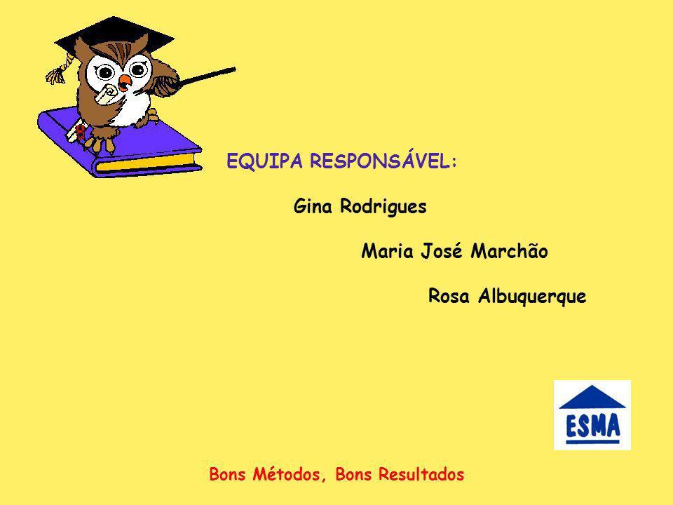 EQUIPA RESPONSÁVEL: Gina Rodrigues Maria José Marchão Rosa Albuquerque Bons Métodos, Bons Resultados