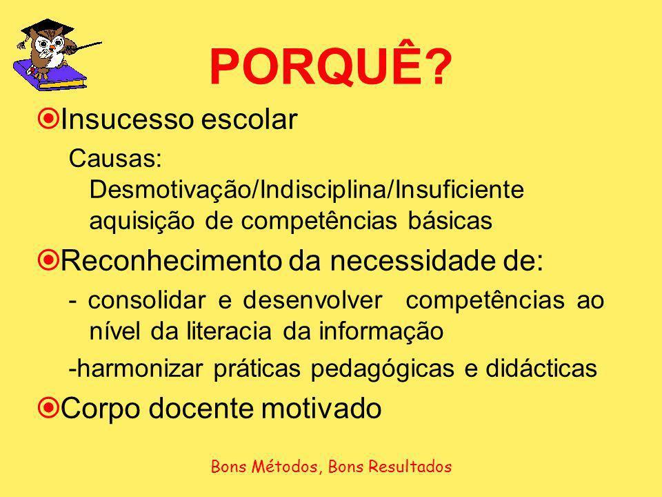 PORQUÊ? Insucesso escolar Causas: Desmotivação/Indisciplina/Insuficiente aquisição de competências básicas Reconhecimento da necessidade de: - consoli