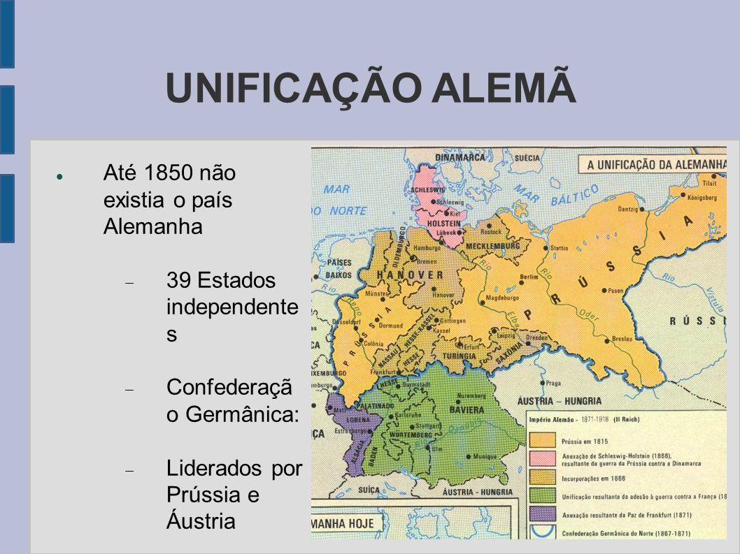 UNIFICAÇÃO ALEMÃ Até 1850 não existia o país Alemanha 39 Estados independente s Confederaçã o Germânica: Liderados por Prússia e Áustria