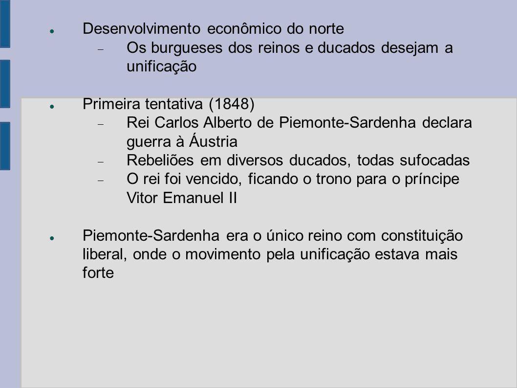 Desenvolvimento econômico do norte Os burgueses dos reinos e ducados desejam a unificação Primeira tentativa (1848) Rei Carlos Alberto de Piemonte-Sar